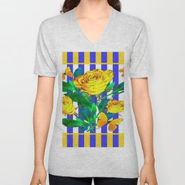 YELLOW SPRING ROSES & BUTTERFLIES WITH LILAC STRIPES Unisex V-Neck