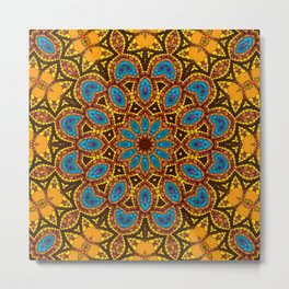 Yellow-blue kaleidoscope Metal Print
