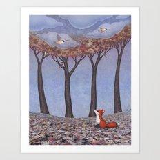 fox and chickadees Art Print