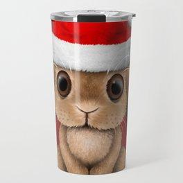 Cute Floppy Eared Baby Bunny Wearing a Santa Hat Travel Mug