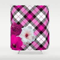 plaid Shower Curtains featuring Plaid+, pink by MehrFarbeimLeben