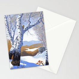 Winter birch valley Stationery Cards