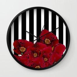 Poppy Stripes - Red Wall Clock