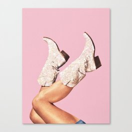 These Boots - Glitter Pink II Canvas Print