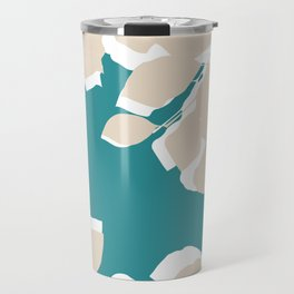 leves teal and tan Travel Mug