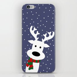 Reindeer in a snowy day (blue) iPhone Skin