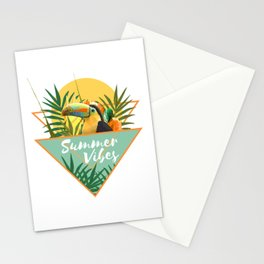 Summer Vibes Typography Tropical Bouquet With Toucan Stationery Cards