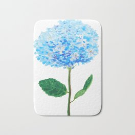 abstract blue hydrangea watercolor Bath Mat