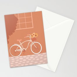 Bike with Basket of Sunflowers in Peach Orange Yellow Stationery Cards