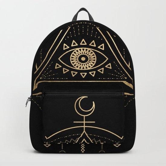 Mandala Tribal Eye Copper Bronze Gold Backpack
