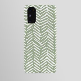 Boho, Abstract, Herringbone Pattern, Sage Green and White Android Case
