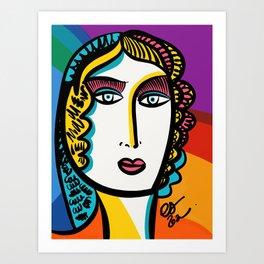 Pride Month Portrait of a Rainbow Woman by Emmanuel Signorino Art Print