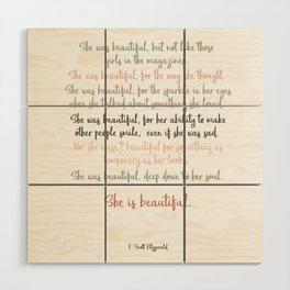 She Was Beautiful By F. Scott Fitzgerald 3 #minimalism #poem Wood Wall Art