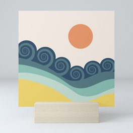 Retro blue ocean waves Mini Art Print