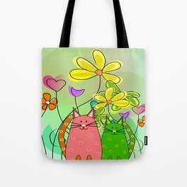 Whimsical Cats and Flowers III Tote Bag