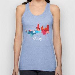 Chicago Cityscape Watercolor Unisex Tank Top