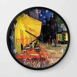 The cafe terrace on the place du forum, Arles, at night, by Vincent van gogh.  Wall Clock