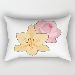 Pink Rose & Day Lily Rectangular Pillow