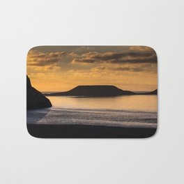 Sunset at Worm's head Bath Mat