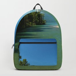 Green Waters Of McDonald River And Lake Backpack