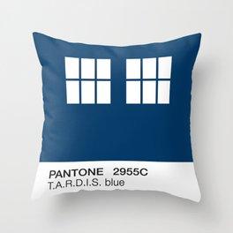 TARDIS Blue Pantone Throw Pillow