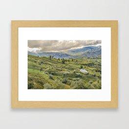 Andean Rural Scene at Quilotoa Town, Ecuador Framed Art Print