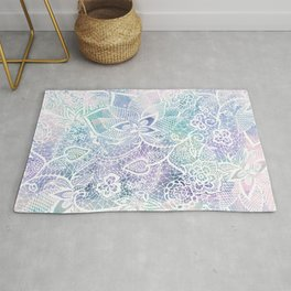 Modern purple lavender turquoise watercolor floral lace hand drawn illustration Rug