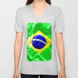 Brazil Flag Waving Silk Fabric Unisex V-Neck