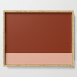 Rich Maroon Rust and Pale Salmon Color Block Serving Tray
