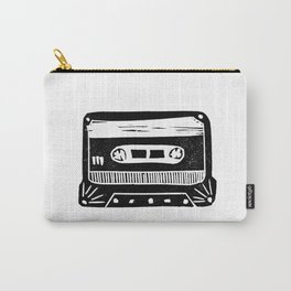 Linocut cassette tape retro analog tape 80s 90s technology gifts Carry-All Pouch