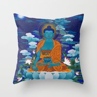medicine Throw Pillows featuring Medicine Buddha by Kalsang Dawa