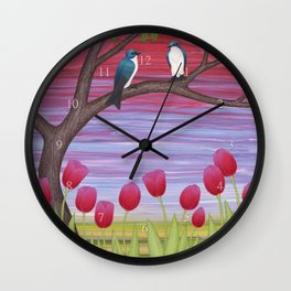 tree swallows & tulips at sunrise Wall Clock