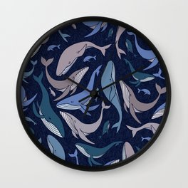 A school of whales Wall Clock