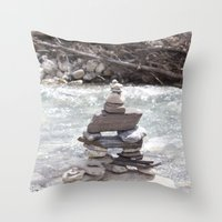 allyson johnson Throw Pillows featuring Johnson Canyon Inukshuk by RMK Creative