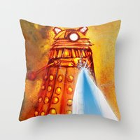 dalek Throw Pillows featuring Dalek by Tony DaBronzo