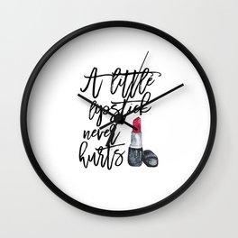 Fashion Print,Makeup Art,Wake Up and Makeup,Watercolor Lipstick Print,Makeup Quote,Make up Print Wall Clock