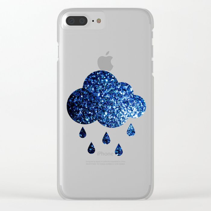 Beautiful Dark Blue glitter sparkles Clear iPhone Case