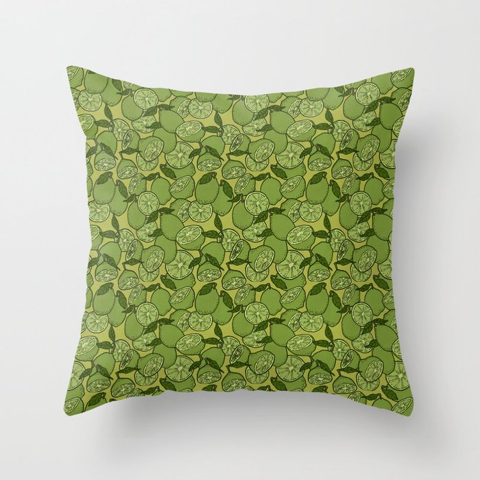 Lime Greenery Throw Pillow