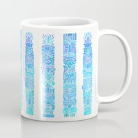 tiki Mugs featuring Tiki Totems – Turquoise Palette by Cat Coquillette