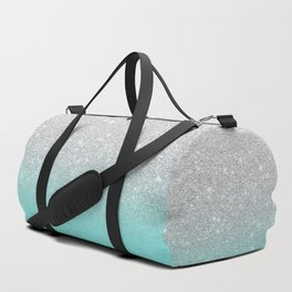 Modern girly faux silver glitter ombre teal ocean color bock Duffle Bag
