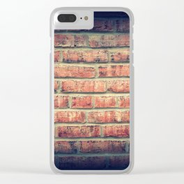 Red brick wall texture background with vignetting corners Clear iPhone Case