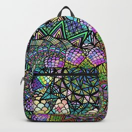 Colorful Floral Mandala Pattern with Geometric Drawings Backpack