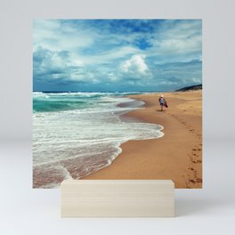 Walking Along the Beach Leaving Sandy Footprints Mini Art Print