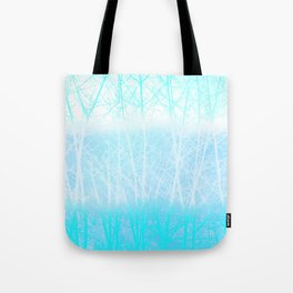 Frosted Winter Branches in Misty Blue Tote Bag