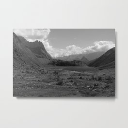 Alpine Valley Meadow Alps Mountains Landscape Bnw Metal Print