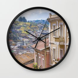 Quito Historic Center-Aerial View, Ecuador Wall Clock