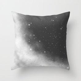 Monochrome Black and White Galaxy Pattern Throw Pillow
