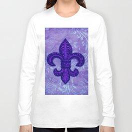 Purple Fleur de Lis Long Sleeve T-shirt