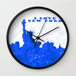 I LOVE NEW YORK With Blue Banner Wall Clock