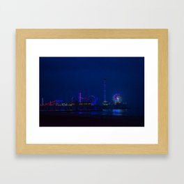 Galveston Pleasure Pier At Night Framed Art Print